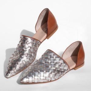 La-Strada-Chaussures-Babouche-cuir-argent